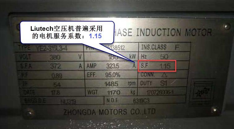 LIUTECH空压机普遍采用的电机服务系数:1.15