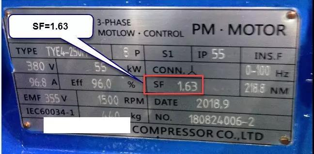 行业类其他品牌空压机采用的电机服务系数:1.63